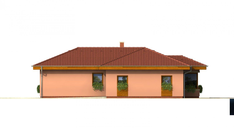 Pohľad 4. - Dom v tvare L s garážou.