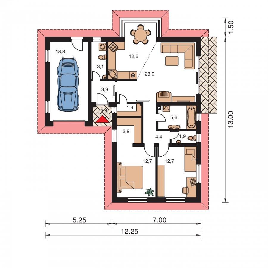 Pôdorys Prízemia - Domček v tvare L s garážou