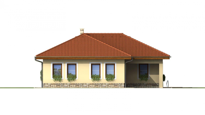 Pohľad 4. - Dom do L s terasou a valbovou strechou.