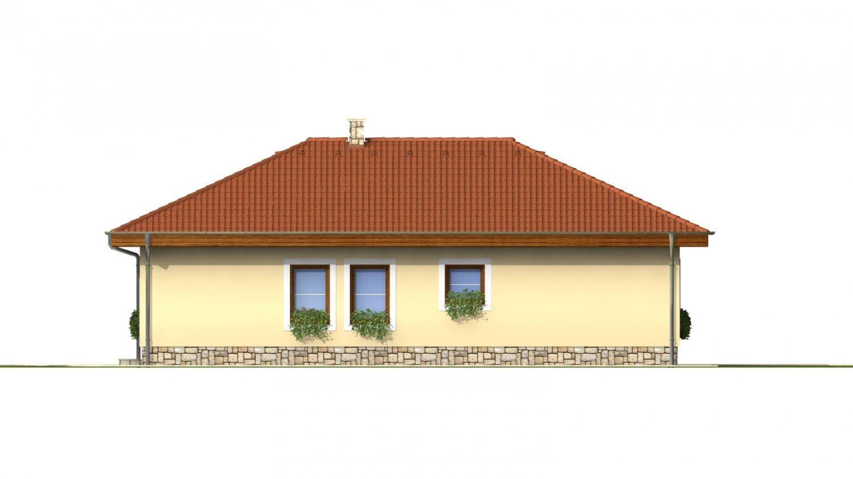 Pohľad 3. - Dom do L s terasou a valbovou strechou.