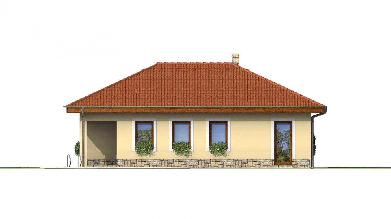 Pohľad 2. - Dom do L s terasou a valbovou strechou.