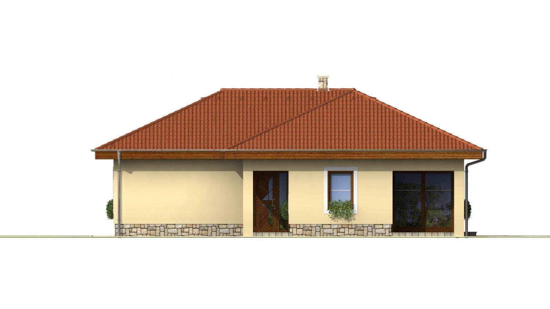 Pohľad 1. - Dom do L s terasou a valbovou strechou.