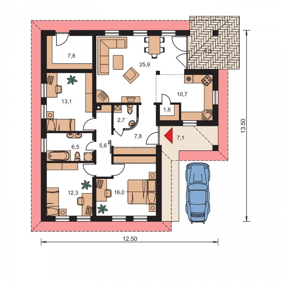 Pôdorys Prízemia - Dom do l s terasou a valbovou strechou