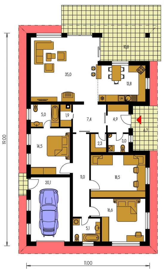 Pôdorys Prízemia - Úžasný dom na užší pozemok s garážou