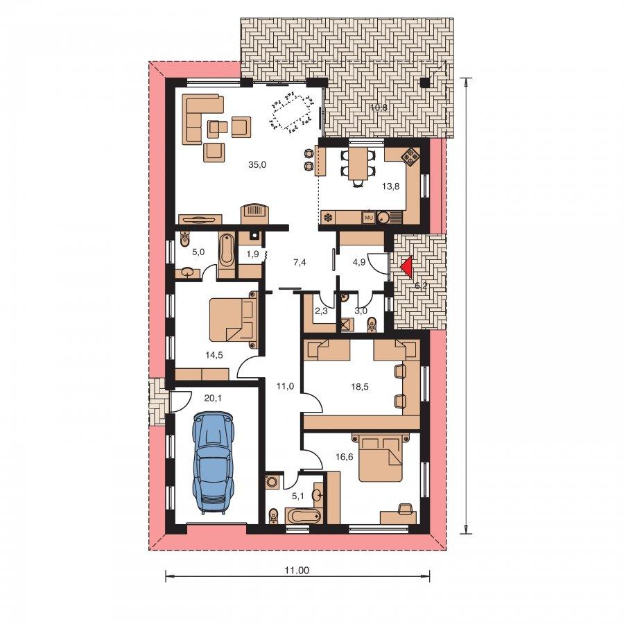 Pôdorys Prízemia - Úžasný dom na úzky pozemok s garážou
