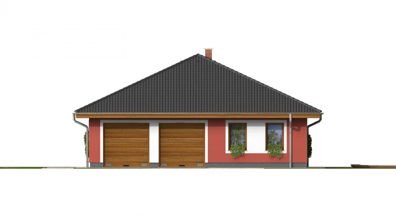 Pohľad 1. - Murovaný domček s dvojgarážou a terasou
