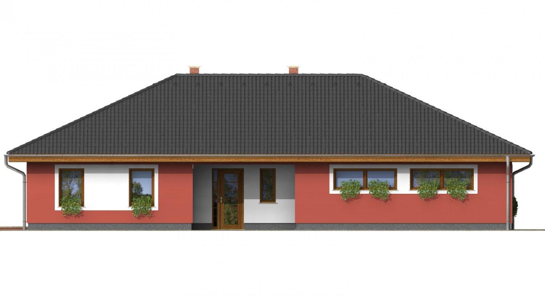 Pohľad 2. - Murovaný domček s dvojgarážou a terasou