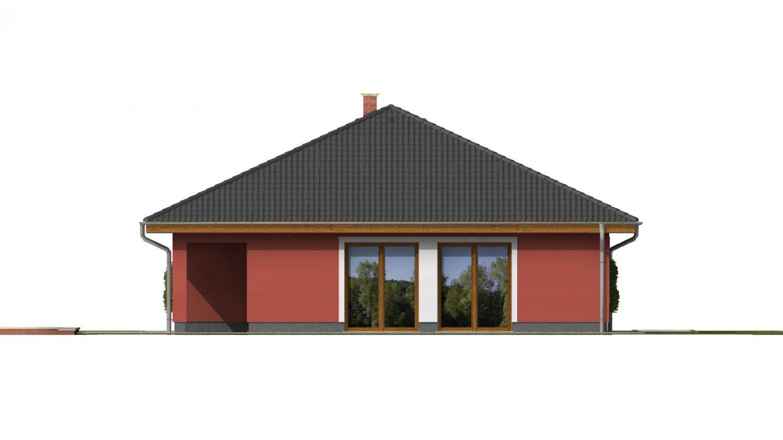Pohľad 3. - Murovaný domček s dvojgarážou a terasou