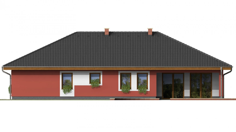 Pohľad 4. - Murovaný domček s dvojgarážou a terasou