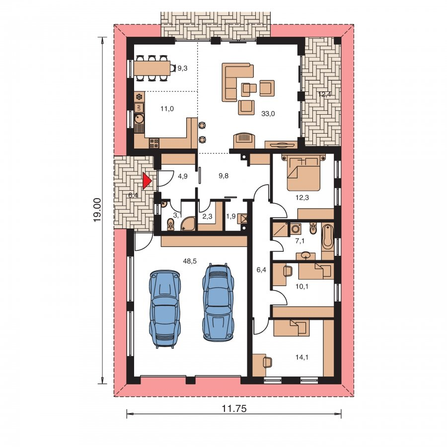 Pôdorys Prízemia - Úzky murovaný domček s dvojgarážou a terasou