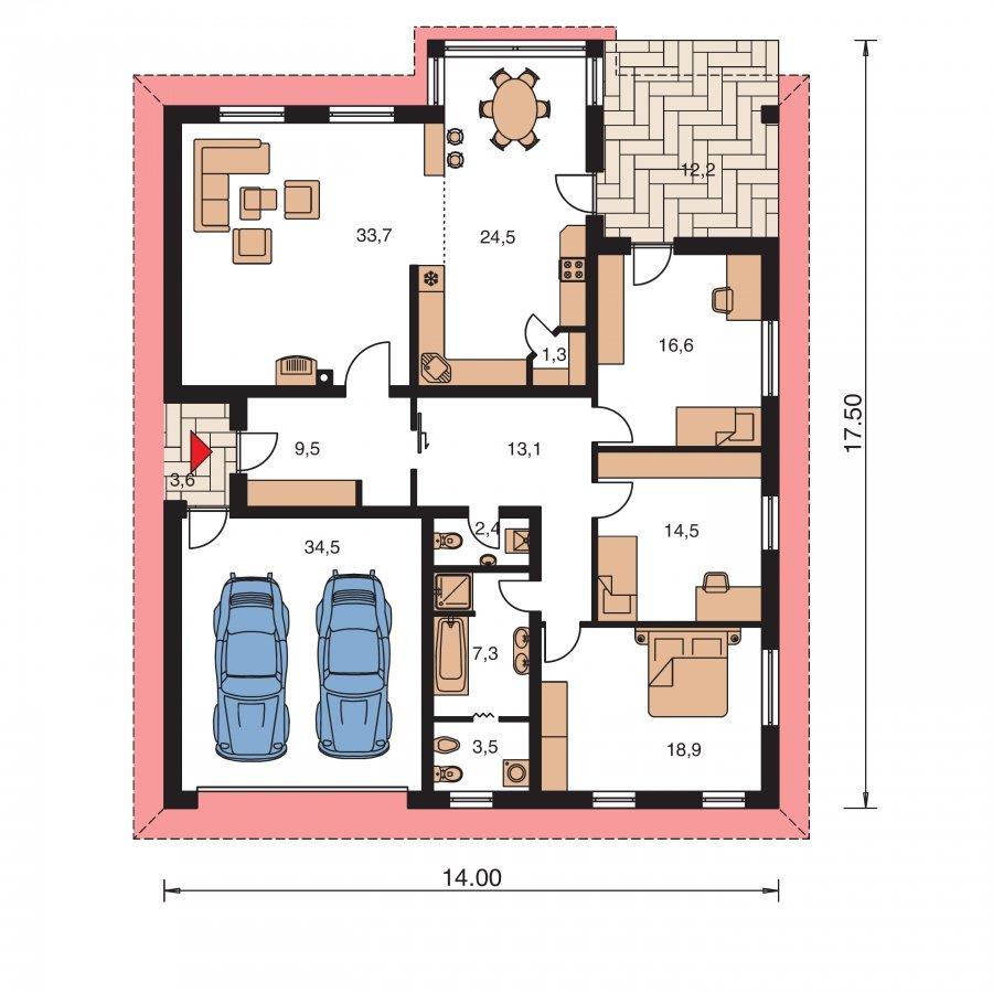 Pôdorys Prízemia - Obľúbený dom s dvojgarážou