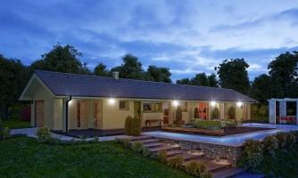 Dom na veľmi úzky pozemok s garážou