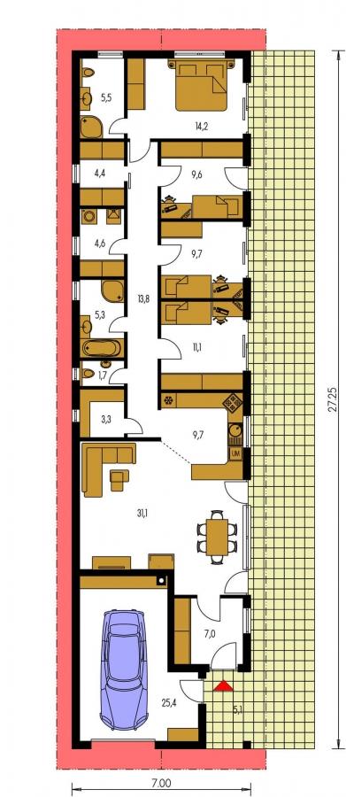 Pôdorys Prízemia - Dom na veľmi úzky pozemok s garážou