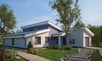 Dom v tvare L pultovými strechami