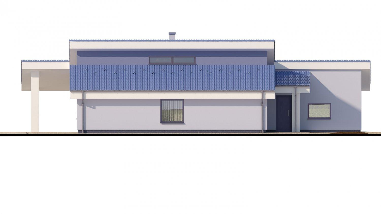 Pohľad 4. - Dom v tvare L s pultovými strechami.
