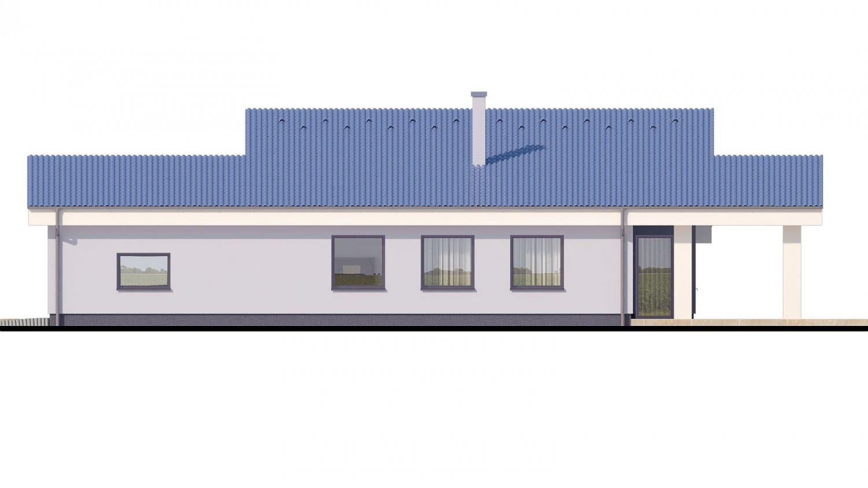 Pohľad 2. - Dom v tvare L s pultovými strechami.