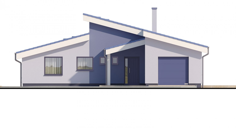Pohľad 1. - Dom v tvare L s pultovými strechami.