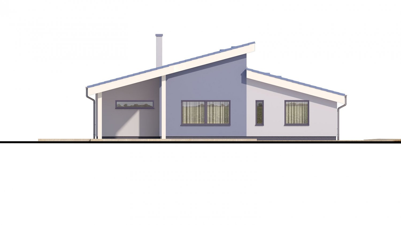 Pohľad 3. - Dom v tvare L s pultovými strechami.