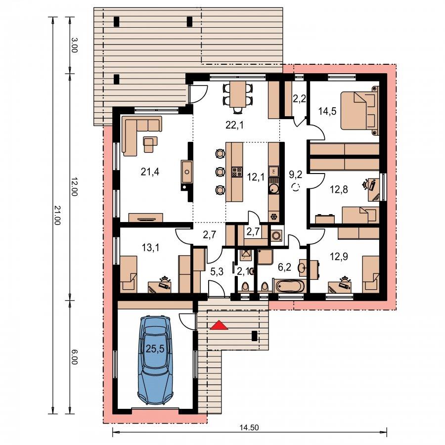 Pôdorys Prízemia - Dom v tvare L pultovými strechami