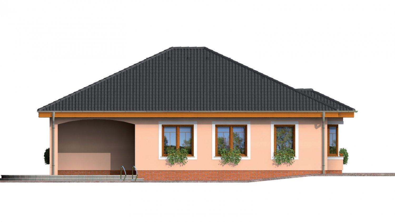 Pohľad 2. - Jednoduchý projekt rodinného domu s garážou.