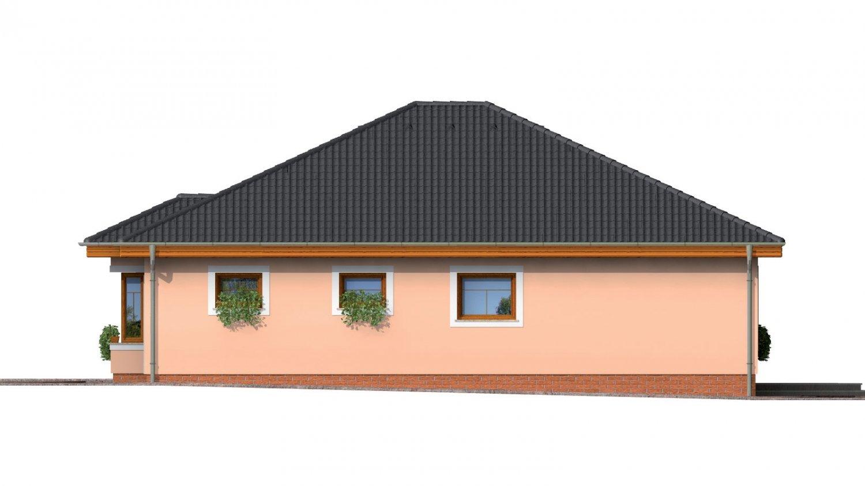 Pohľad 4. - Jednoduchý projekt rodinného domu s garážou.
