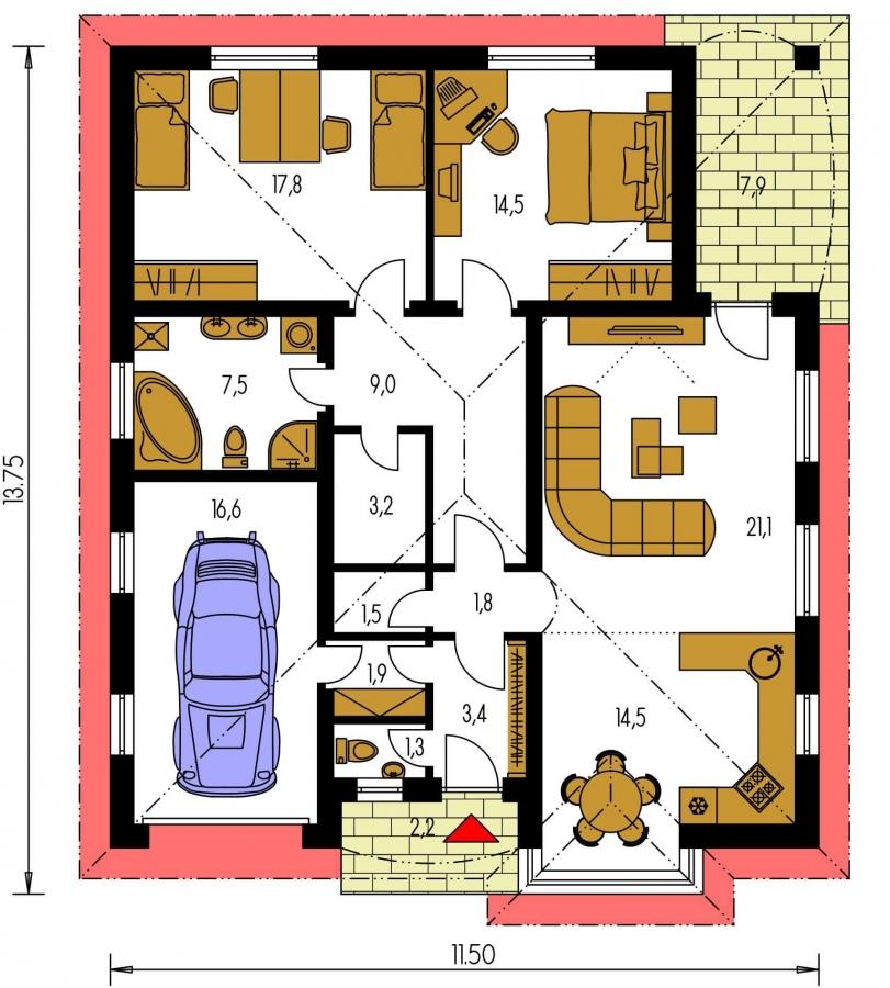 Pôdorys Prízemia - Jednoduchý projekt rodinného domu s garážou.