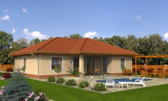 Projekt rodinného domu do tvaru L s terasou a technickou miestnosťou