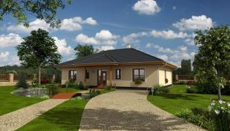 Projekt rodinného domu do tvaru L s terasou a technickou miestnosťou.