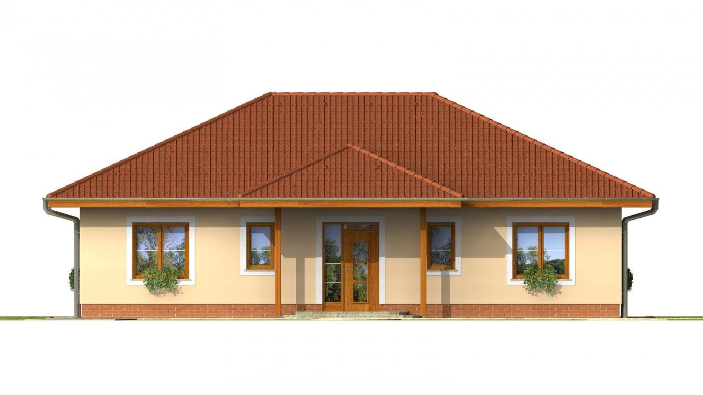 Pohľad 1. - Projekt rodinného domu do tvaru L s terasou a technickou miestnosťou.