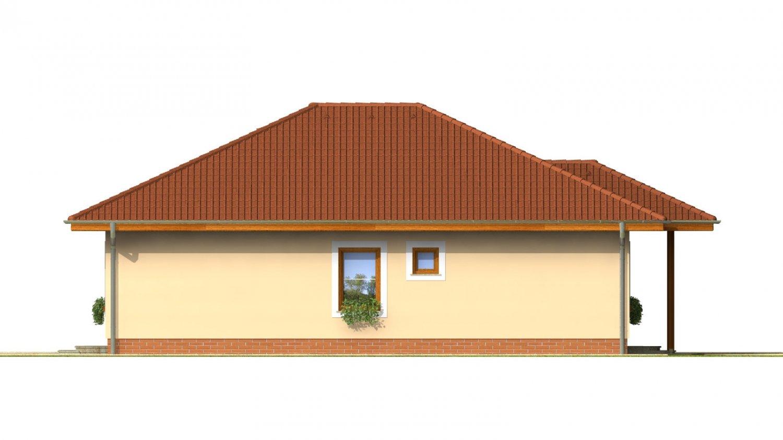 Pohľad 2. - Projekt rodinného domu do tvaru L s terasou a technickou miestnosťou.