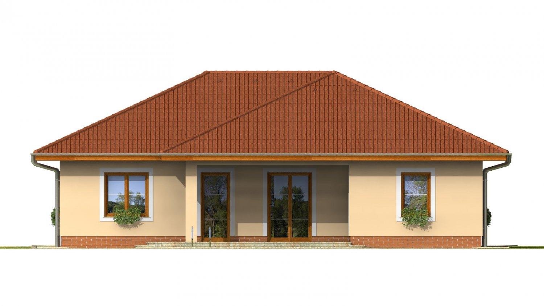 Pohľad 3. - Projekt rodinného domu do tvaru L s terasou a technickou miestnosťou.