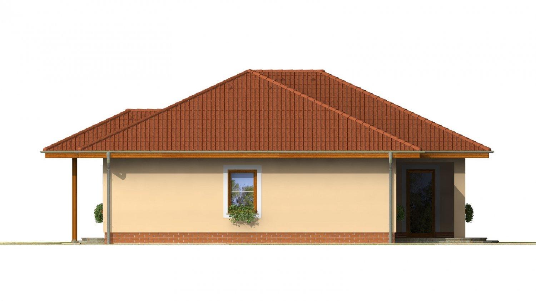 Pohľad 4. - Projekt rodinného domu do tvaru L s terasou a technickou miestnosťou.
