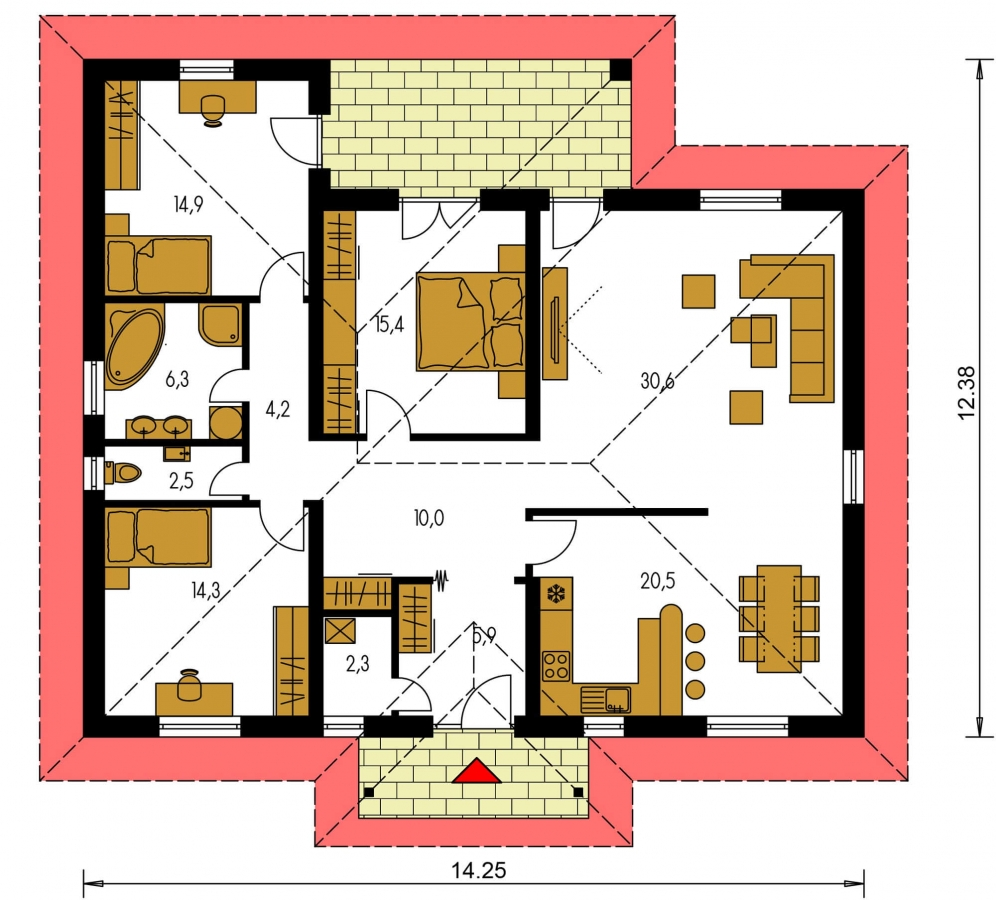 Pôdorys Prízemia - Projekt rodinného domu do tvaru L s terasou a technickou miestnosťou.