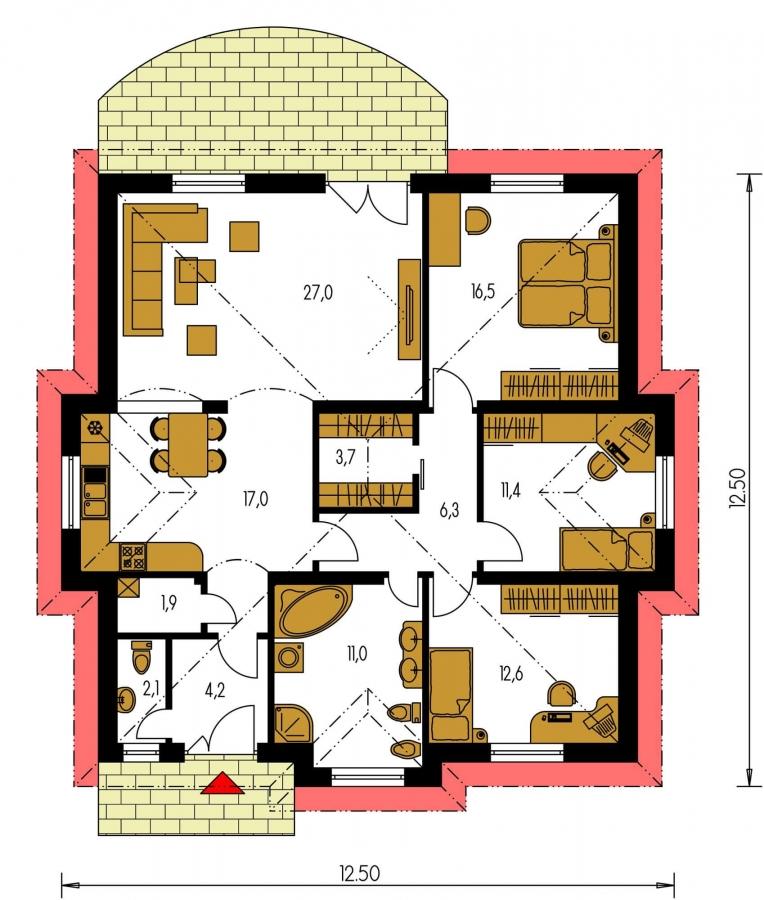 Pôdorys Prízemia - 4-izbový dom so stanovou strechou