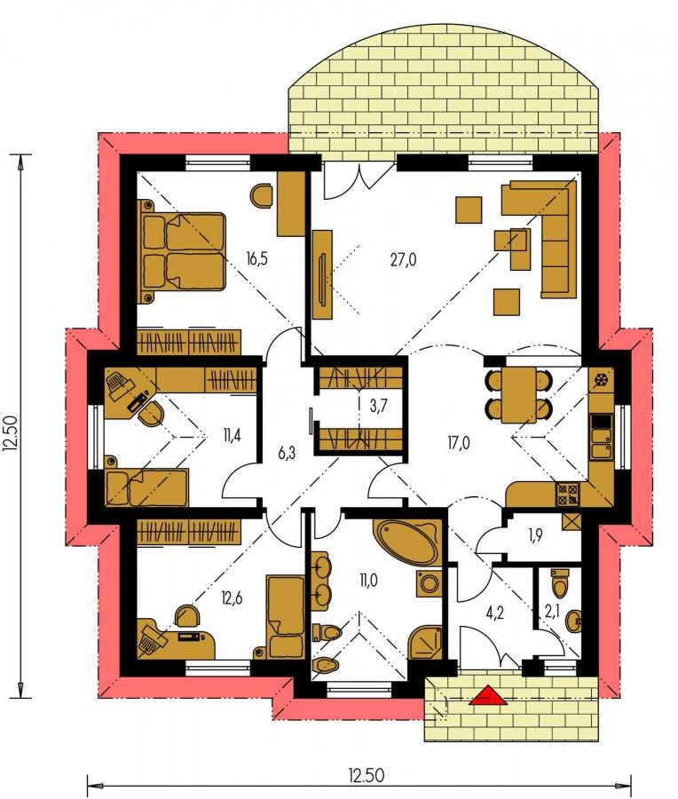 Pôdorys Prízemia - 4-izbový dom so stanovou strechou.