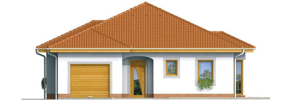 Pohľad 1. - Prízemný rodinný dom s garážou.