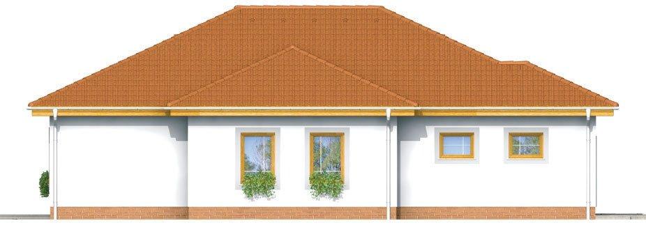 Pohľad 2. - Prízemný rodinný dom s garážou.