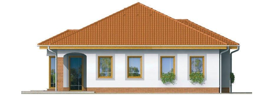 Pohľad 3. - Prízemný rodinný dom s garážou.