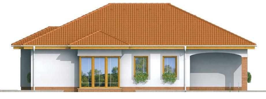 Pohľad 4. - Prízemný rodinný dom s garážou.