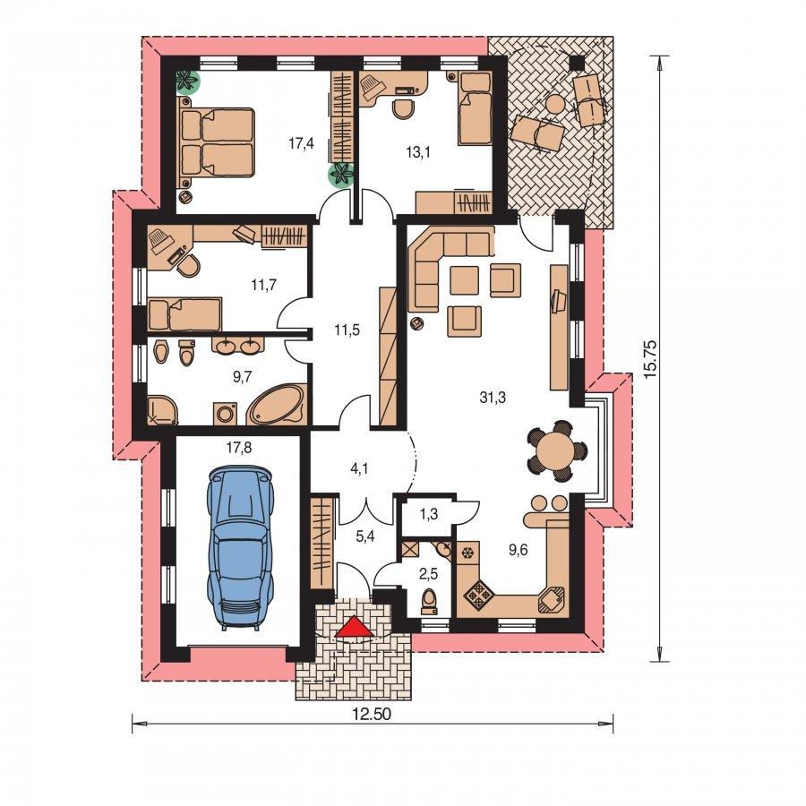 Pôdorys Prízemia - Prízemný rodinný dom s garážou
