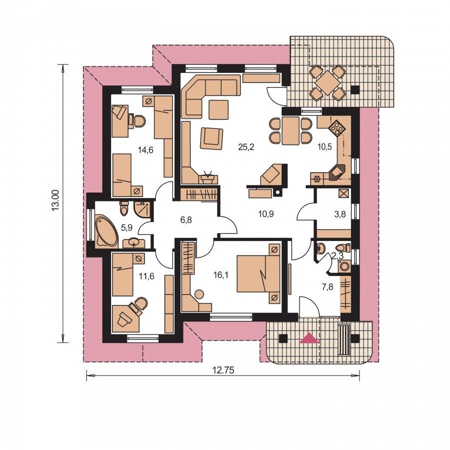 Pôdorys Prízemia - Zaujímavý projekt rodinného domu