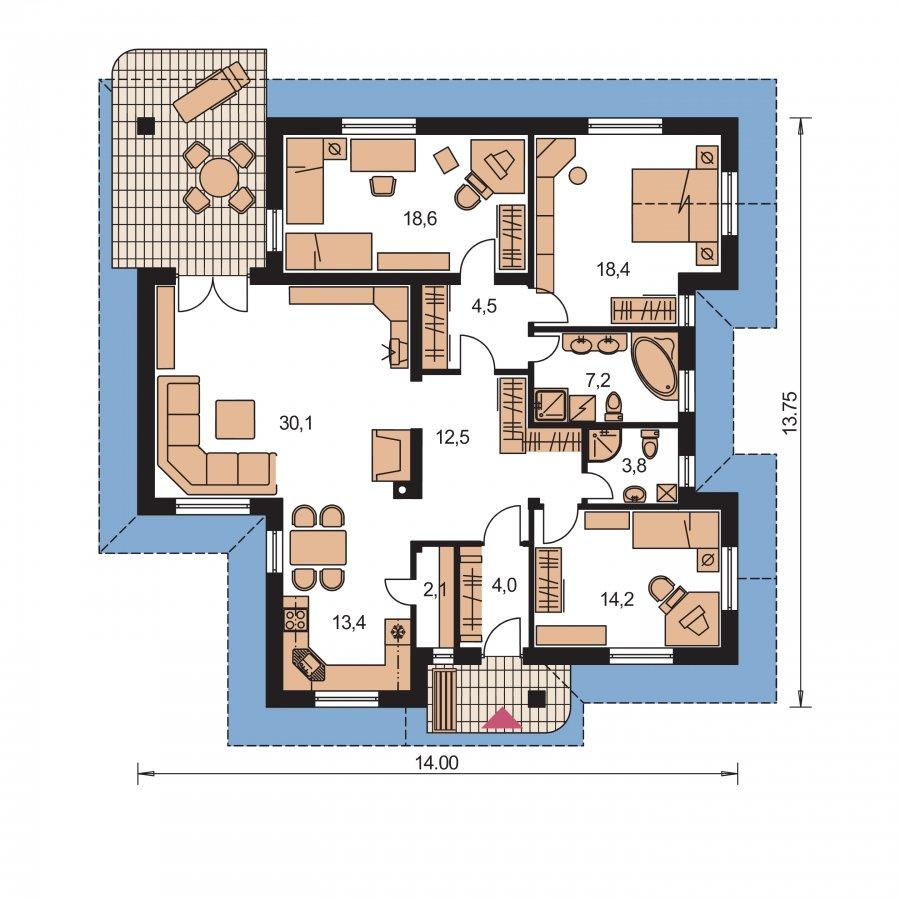 Pôdorys Prízemia - Dom so zaujímavými strechami