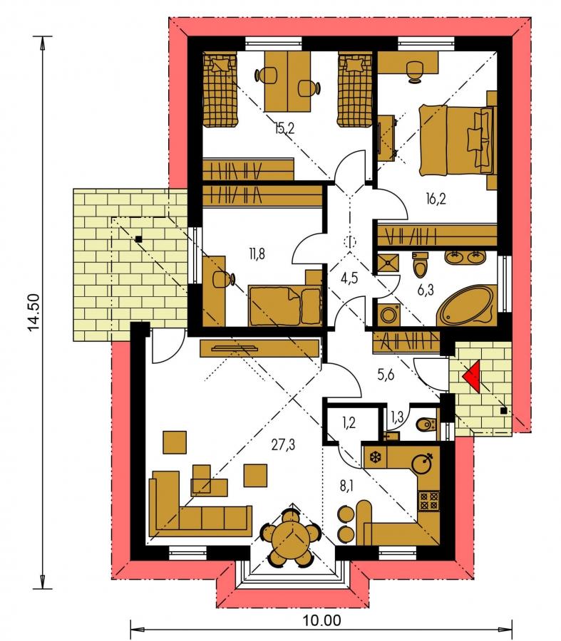 Pôdorys Prízemia - Prízemný 4-izbový rodinný dom.