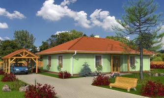 Klasický projekt prízemného rodinného domu s valbovými strechami, vhodný aj na užší pozemok.