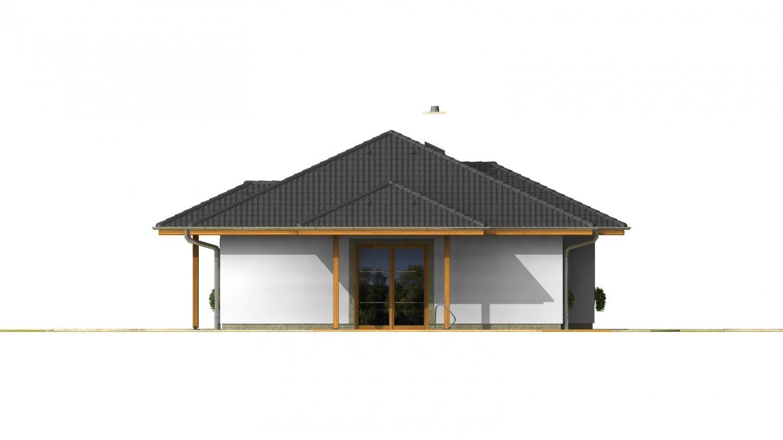 Pohľad 2. - Klasický projekt prízemného rodinného domu s valbovými strechami, vhodný aj na užší pozemok.