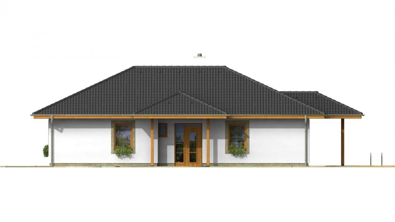 Pohľad 1. - Klasický projekt prízemného rodinného domu s valbovými strechami, vhodný aj na užší pozemok.