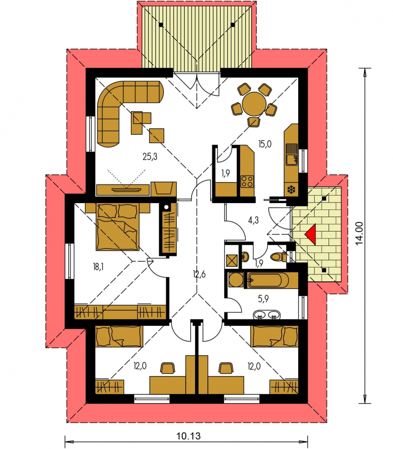Pôdorys Prízemia - Klasický projekt prízemného rodinného domu s valbovými strechami, vhodný aj na užší pozemok.