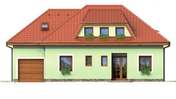 Pohľad 1. - Veľký rodinný dom s garážou.