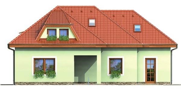 Pohľad 3. - Veľký rodinný dom s garážou.