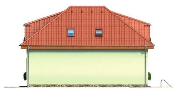 Pohľad 4. - Veľký rodinný dom s garážou.